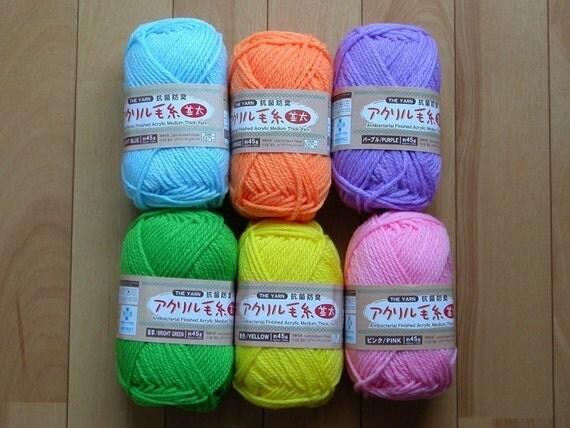 6 Skeins of Anti-Bacterial Japanese Eco-Tawashi Yarn - Orange, Purple, Yellow, Blue, Pink, Green