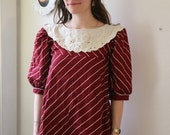 rejuvenate and restore maroon striped white collar blouse 80s