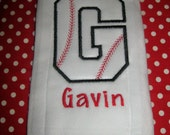Baseball Initial Burp Cloth