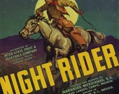 Cowboy Night Rider on Horse Texas Fruit Crate Label