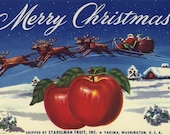 Merry Christmas Apple fruit crate label