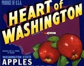 Heart of Washington apple crate label