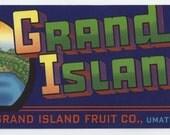 Grand Island Florida CRATE LABEL
