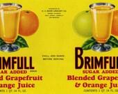 Large Vintage Orange Juice Label Brimful