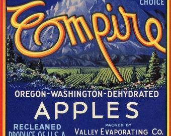 EMPIRE apple crate label, Oregon Washington