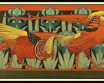 Art Deco Pheasant Refrigerator Magnet - FREE US SHIPPING
