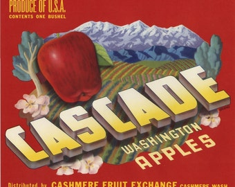 Cascade Washington Apple Fruit Crate Label - red apples snowy mountains