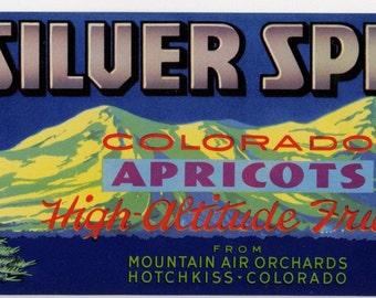 Silver Spruce Colorado Apricots crate label