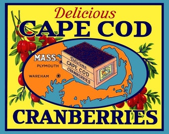 Cape Cod Mass Cranberry  Refrigerator Magnet -  FREE US SHIPPING