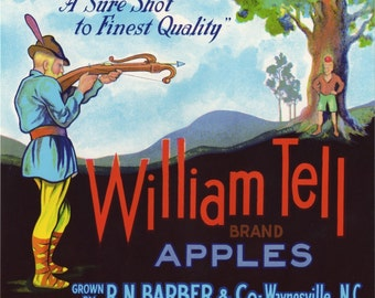 William Tell Apple fruit crate label