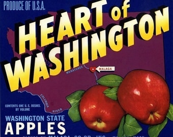 Heart of Washington apple crate label
