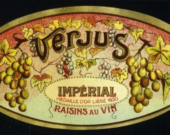 VERJUS Raisen Au Vin Wine label, early French