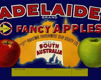 Adelaide Apples Australian Label  Refrigerator Magnet