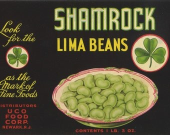 SHAMROCK Lima Bean can label, Irish lucky clover