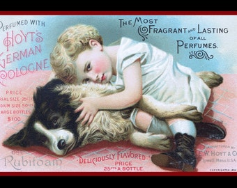 Little Girl and Border Collie Dog Large Refrigerator Magnet