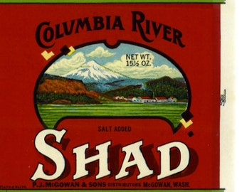 Columbia River Shad Fish  can label Washington