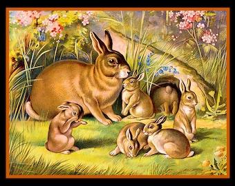 Playful Rabbits Refridgerator Magnet