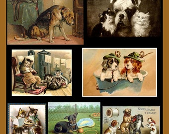 Combination of Vintage Cats and Dogs Refrigerator Magnet