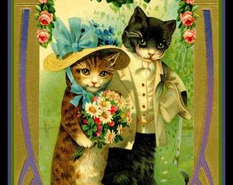 Cats Wedding Valentine Refrigerator Magnet - FREE US SHIPPING