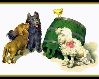 Three Dogs and a Chick Refrigerator Magnet - FREE US SHIPPING