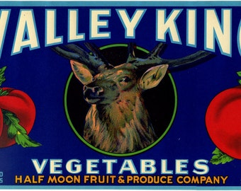 Valley King Tomato crate label deer elk stag