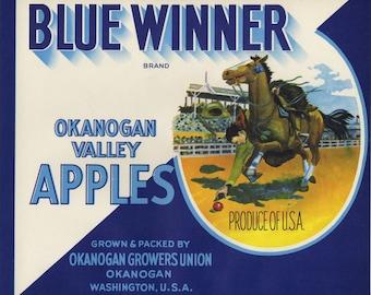 Blue Winner Horse Racing  Apple Crate Label from Okanogan Washington