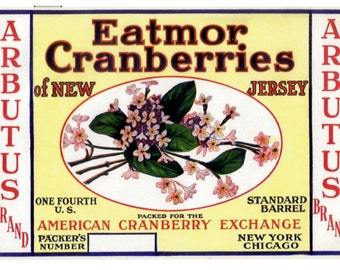 ARBUTUS Flower New Jersey Cranberry Crate Label