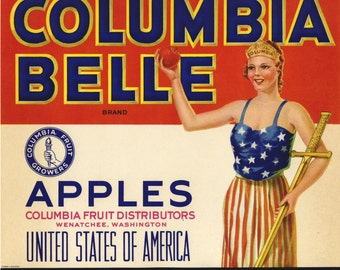 Columbia Belle Apple Crate Label Wenatchee Washington