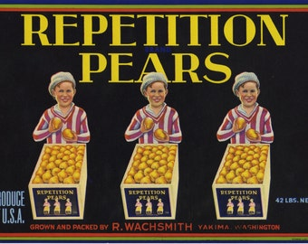 Vintage Triplet Boys Selling Pears Crate Label