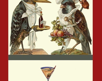 Bartender Woodpecker and Sparrow Cook Refridgerator Magnet
