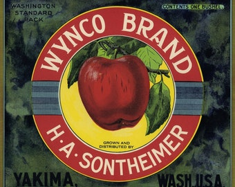 Bright Red Apple Fruit Crate Label from Washington