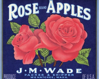 Pink Rose Apple Fruit Crate Label from Wenatchee