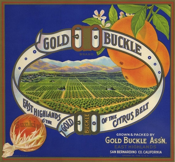 Gold Buckle Orange crate label from California