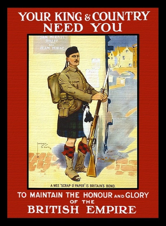 Scottish WWI Recruiting Refrigerator Magnet - Free Shipping in US