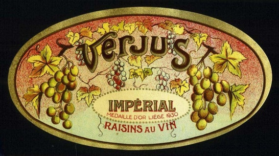 VERJUS Raisen Au Vin Wine label, early French