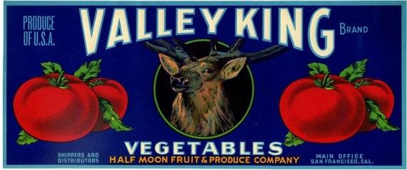 Valley King Tomato crate label deer elk stag