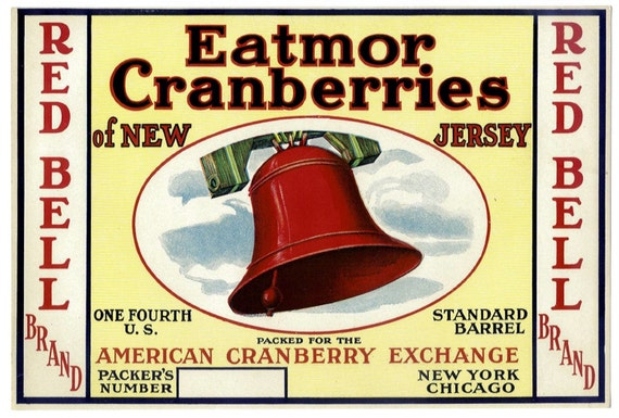 Red Bell New Jersey Cranberry Fruit Crate Box Label