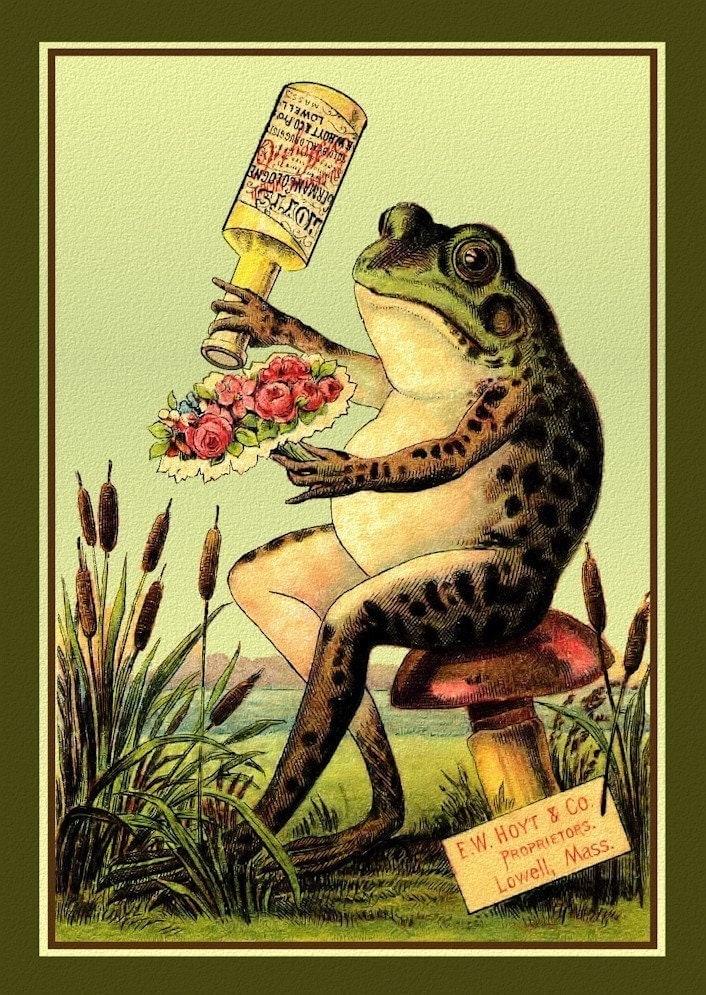 frog and flower bouquet large refrigerator magnet