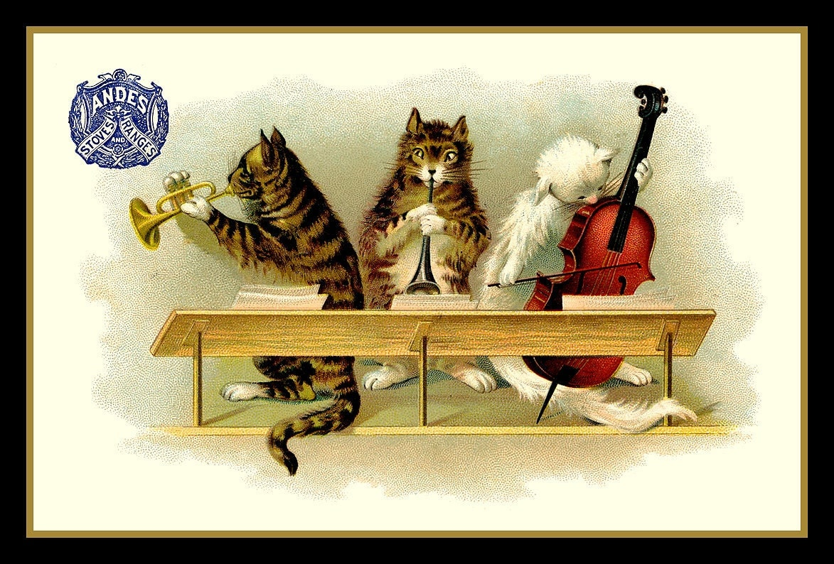 Cats Playing Musical Instruments Refrigerator Magnet