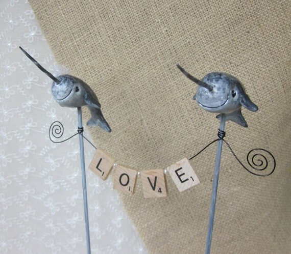 Narwhal LOVE Wedding Cake Topper