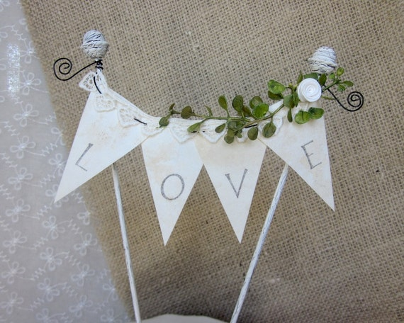 LoVE Banner Wedding Cake Topper
