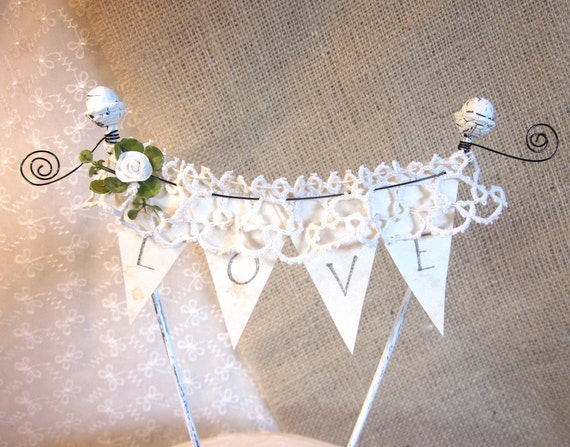 LACEY LOVE BANNER Wedding Cake Topper