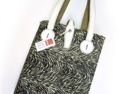 Leather Button Tote Bag Zebra printed cow hide
