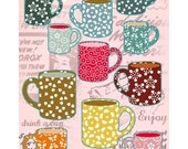 Vintage Tea Cups Collage Poster Print - pink backgound