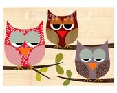 Cute retro patterm owls sitting on  a branch collage poster print on wooden background