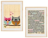 Cute owls in love - Collage Poster Print
