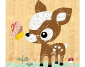 NEW A3 Size: Cute forest friends -  Deery and Butterfly  collage poster  print