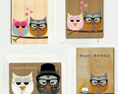 Set of 8 owls in love cards