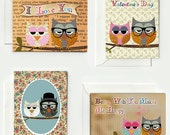 Set of 8 cute vintage nerd owl cards for lovers