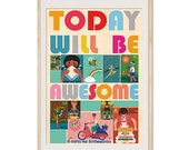 Today will be awesome - vintage 70s safety matches  collage poster print on wooden background